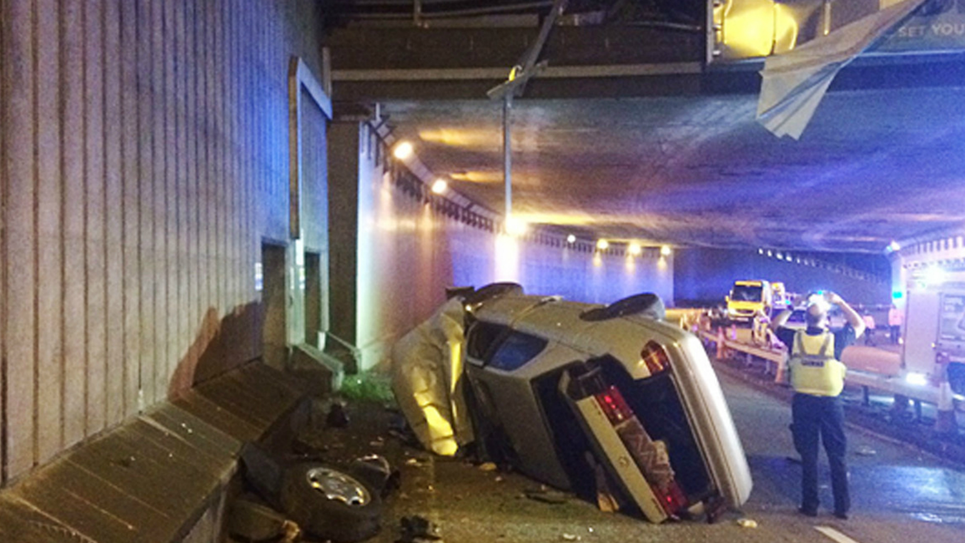 Man and two kids have miracle escape after car crashes off flyover